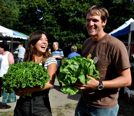 Alm Hill Gardens showing off their big heads... of lettuce! Photo copyright 2012 by Zachary D. Lyons.