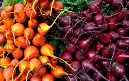 Golden and Detroit red beets from Kirsop Farm. Photo copyright 2014 by Zachary D. Lyons.