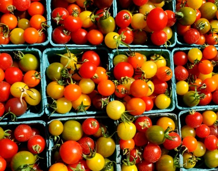 Cherry tomatoes from Around The Table Farm at Wallingford Farmers Market. Copyright Zachary D. Lyons.