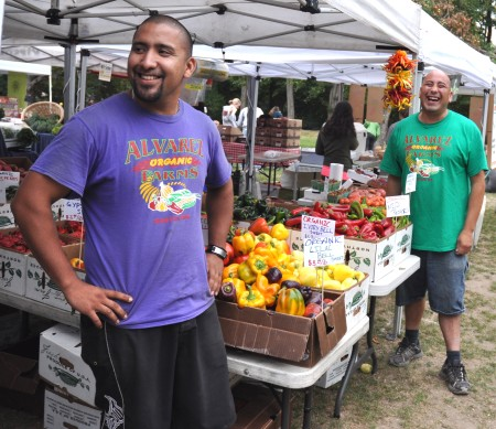 JC (left) and Ray from Alvarez Organic Farms at Wallingford Farmers Market. Copyright Zachary D. Lyons.