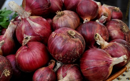 Seasoned red onions from Around The Table Farmat Wallingford Farmers Market. Copyright Zachary D. Lyons.