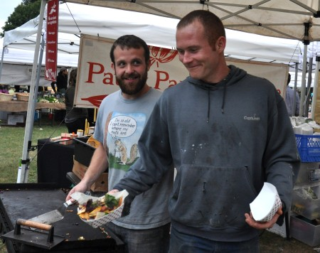 Tre (left) and Adam from Patty Pan Grill Colective at Wallingford Farmers Market. Copyright Zachary D. Lyons.